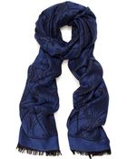 Liberty London Blue Ianthe Jacquard Wool-Blend Scarf - Lyst