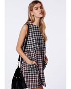 Missguided Cliona Two Tone Smock Dress Check - Lyst
