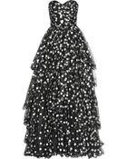 Oscar de la Renta Polkadot Tiered Tulle Gown - Lyst