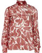 Miu Miu Tie-Back Printed Silk-Chiffon Blouse - Lyst