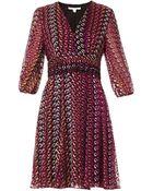 Diane von Furstenberg Printed Chiffon Dress - Lyst