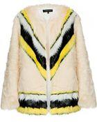 Pixie Market Chevron Stripe Faux Fur Coat - Lyst
