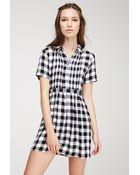 Forever 21 Pintucked Gingham Dress - Lyst