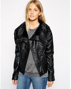 Brave Soul Pu Jacket With Oversized Faux Fur Collar - Lyst