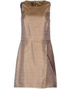 Jil Sander Navy Sleeveless Jacquard Khaki Short Dress - Lyst