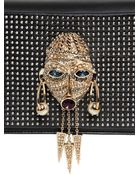 Roberto Cavalli Talisman & Studs On Nappa Leather Clutch - Lyst