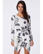 Missguided Margurite Floral Wrap Dress - Lyst