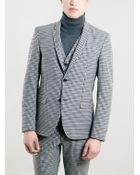 Topman Selected Homme Grey Skinny Fit Checked Suit Jacket - Lyst