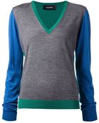 DSquared² V-Neck Color-Blocked Sweater - Lyst