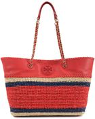 Tory Burch Marion Crochet Straw Tote - Lyst