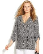 Michael Kors Michael Plus Size Printed Lace-Up Chain-Link Top - Lyst