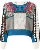 Toga Pulla Cropped Intarsia Sweater - Lyst