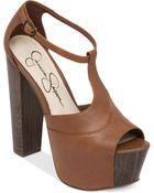 Jessica Simpson Dany T-Strap Platform Sandals - Lyst
