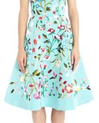 Oscar de la Renta Floral Embroidered Aquamarine Silk Faille Cocktail Dress - Lyst