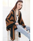 Urban Outfitters Graphic Stripe Open Poncho - Lyst
