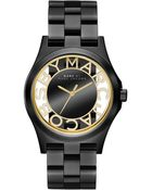 Marc By Marc Jacobs Women'S Henry Black Ion-Plated Stainless Steel Bracelet 40Mm Mbm3255 - Lyst