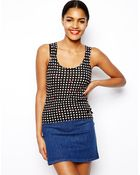 Love Moschino Knitted Tank Top in Polka Dot - Lyst