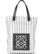 Loewe Striped Leather Shopper Bag - Lyst