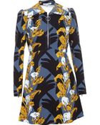 Carven Printed Crepe Dress - Lyst