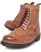 Grenson Tan Fred Commando Wingtip Leather Boots - Lyst