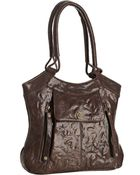Rough Roses Brown Glazed Leather Riley Pocket Tote - Lyst