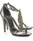 Roberto Cavalli Feather-embellished Leather Sandals - Lyst