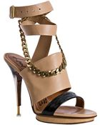 Lanvin Nude Leather Chain Detail Wrap Platform Sandals - Lyst