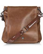 Stella McCartney Embossed Faux-leather Saddle Bag - Lyst