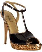 Saint Laurent Chocolate Patent Tribute T-strap Platform Sandals - Lyst