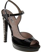 Miu Miu Jeweled Sandal - Lyst