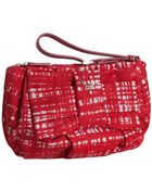 Prada Red Crosshatch Printed Nylon Gabardine Bow Wristlet Clutch - Lyst