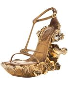 Alexander McQueen Floral-wedge T-strap Sandal - Lyst
