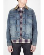 Edwin Vintage Wash Cord Collar Denim Work Jacket - Lyst