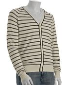 Theory Ivory Cream Stripe Silk-cotton Heman V-neck Cardigan - Lyst