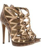 Nicholas Kirkwood Metallic Lattice and Snakeskin Sandals - Lyst