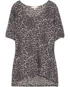 Rebecca Taylor Leopard-print Cotton-blend T-shirt - Lyst