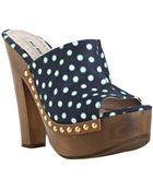 Miu Miu Dark Blue Polka Dot Peep Toe Platform Clogs - Lyst