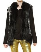 Balmain Goathair Trim Embroidered Leather Vest - Lyst