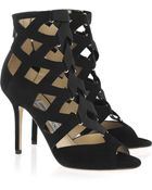 Jimmy Choo Flaxman Suede Cage Sandals - Lyst