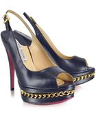 Luciano Padovan Gold Chain Platform Slingback - Lyst