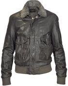Forzieri Dark Brown Leather Bomber Jacket W/ Removable Sheepskin Collar - Lyst