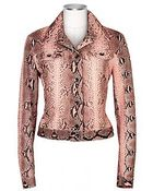 Forzieri Pink Python Leather Button Front Jacket - Lyst