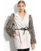 Robert Rodriguez Faux Fur Sleeve Coat - Lyst