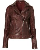 Topshop Quilted Leather Biker Jacket - Lyst