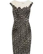 Lela Rose Lace-appliquéd Linen Dress - Lyst