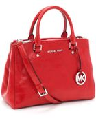 Michael Kors Medium Bedford Dressy Tote, Red - Lyst
