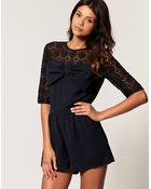 ASOS Collection Asos Lace Bow Playsuit - Lyst