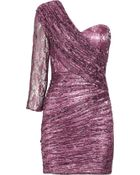 Rare Opulence Ruched Metallic-Lace Dress - Lyst