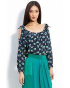 Rebecca Taylor Printed Silk Blouse - Lyst