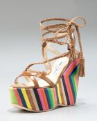 Jimmy Choo Striped-wedge Lace-up Sandal - Lyst
